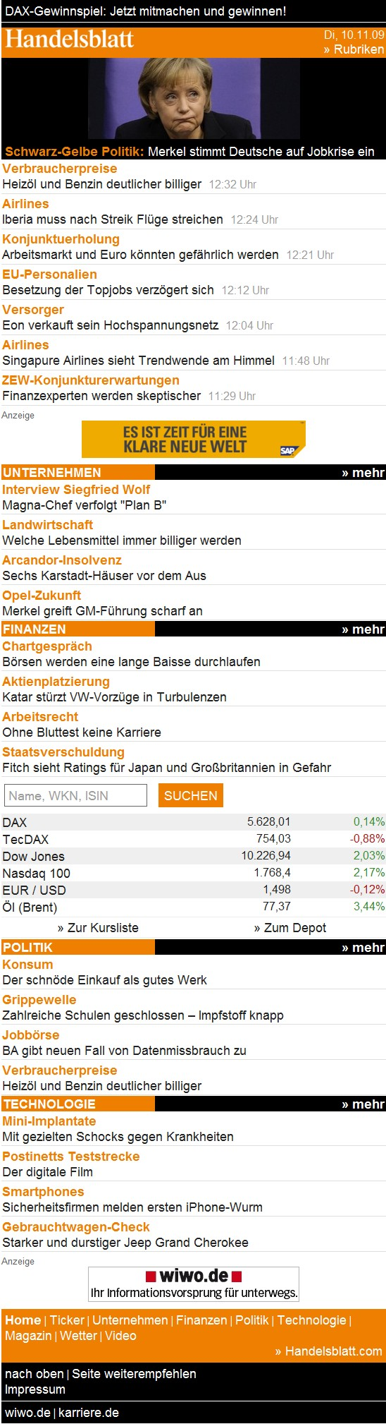 Handelsblatt_Mobile Portal